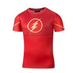 Review Pria Lengan Bang Pendek Komik Pahlawan Super Cepat Kering Olahraga Jersey Costumet Oblong Flash International