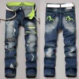 Beli Jimzivi Men S Cool Scratch Lubang Printing Fashion Jalan Jalan Casual Jeans Pants Celana Pake Kartu Kredit