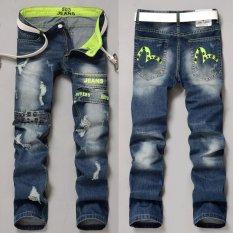 Jual Jimzivi Men S Cool Scratch Lubang Printing Fashion Jalan Jalan Casual Jeans Pants Celana Ori