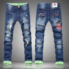 Dapatkan Segera Jimzivi Men S Cool Scratch Lubang Printing Fashion Jalan Jalan Jeans Kasual Celana Celana Intl
