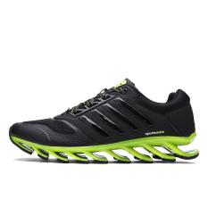 Tengkorak Pria Keren Modis Sepatu Semi Bilah Papan Loncat Lari Sepatu Kets (Hitam + Hijau) (International)