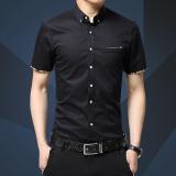 Diskon Pria Kapas Lengan Pendek Shirt Bisnis Pria Kasual Slim Baju Kaos Chemise M 5Xl Intl Branded