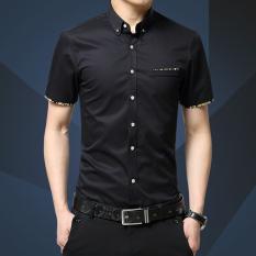 Jual Pria Kapas Lengan Pendek Shirt Bisnis Pria Kasual Slim Baju Kaos Chemise M 5Xl Intl Satu Set