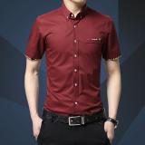 Model Pria Kapas Lengan Pendek Shirt Bisnis Pria Kasual Slim Baju Kaos Chemise M 5Xl Intl Terbaru