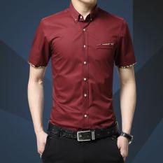 Spesifikasi Pria Kapas Lengan Pendek Shirt Bisnis Pria Kasual Slim Baju Kaos Chemise M 5Xl Intl Oem Terbaru