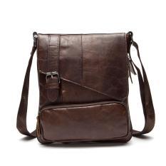Harga Mens Cowhide Leather Messenger Tas Ringan Shoulder Bags Kopi Newcoast Asli