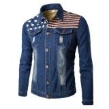 Jual Men S Denim Clothing American Flag Printed Jacket Dark Blue Intl Di Tiongkok