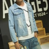 Dapatkan Segera Jaket Denim Kasual Fashion Mens Jeans Coats Cowboy Jaket Biru Muda Internasional