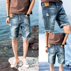 Pria Denim Celana Pendek Fashion Jeans Lima Poin Lurus Casual Pants Blue309-Intl