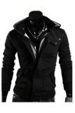 Toko Pria Fashion Kasual Hooded Kardigan Kasual Sweatshirt Hitam Lengkap Di Tiongkok
