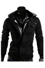 Harga Pria Fashion Kasual Hooded Kardigan Kasual Sweatshirt Hitam Lengkap