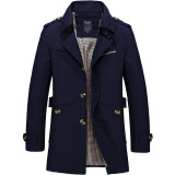 Top 10 Fashion Milik Putra Jaket Kasual Mantel Slim And Bagian Panjang Windbreaker Musim Gugur Musim Dingin Jaket M 4Xl Navy Biru Intl Online