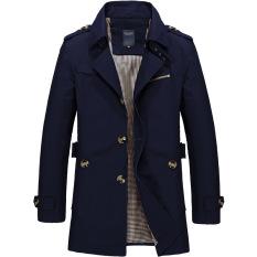 Harga Fashion Milik Putra Jaket Kasual Mantel Slim And Bagian Panjang Windbreaker Musim Gugur Musim Dingin Jaket M 4Xl Navy Biru Intl Online