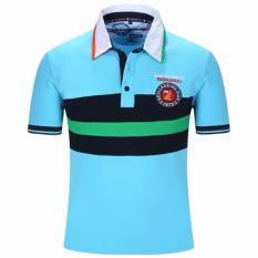Pria Fashion Casual T-shirt Lengan Pendek Bordir Sport POLO Shirt Bisnis Shirt (Biru).-Intl