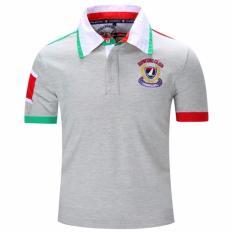 Pria Fashion Casual T-shirt Lengan Pendek Bordir Sport POLO Shirt Bisnis Shirt (Grey).-Intl