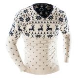 Ulasan Lengkap Tentang Pria Fashion Casual Slim V Neck Panjang Lengan Sweater Dicetak Sweater Beige