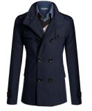 Harga Untuk Pria Double Breasted Wol Trench Coat Slim Dan Bagian Panjang Jaket Musim Dingin Navy Biru Intl Paling Murah