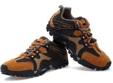 Beli Men S Fashion Hiking Bernapas Mesh Portable Outdoor Olahraga Sepatu Sepatu Rendam Antiskid Sneakers Brown 38 44 Intl Kredit