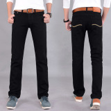 Harga Men S Fashion Korean Version Straight Slim Jeans Black Denim Trousers Terbaik