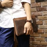 Beli Men S Fashion Leather Handbag Wrist Bag Rivet Envelope Clutch Leisure Wallet Coffee Baru