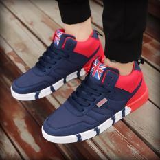 Harga Men S Fashion Menjalankan Sneakers Lace Up Sport Shoes Biru Dan Merah Termahal