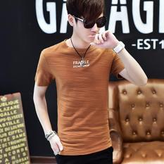 Men S Fashion Short Sleeve O Neck Casual T Shirts Brown Intl Small Wow Diskon