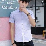 Diskon Pendek Fesyen Pria Lengan Pesta Kasual Kemeja Kancing Grey Intl Tiongkok