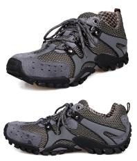 Spesifikasi Pria Fashion Sneakers Sepatu Bernapas Mesh Leather Outdoor Olahraga Hiking Sepatu Kasual Menjalankan Sepatu Abu Abu Intl Dan Harganya