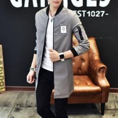 Pria Fashion Stand Kulit Panjang Jaket Athletic Jaket Abu-abu-Internasional