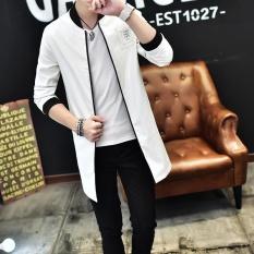 Pria Fashion Stand Kulit Panjang Jaket Athletic Jaket Putih-Intl