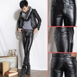 Iklan Mens Faux Leather Pants Bahan Pu Black Slim Skinny Fitness Motor Kulit Nigthclub Celana Intl