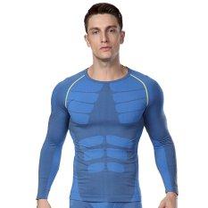 Mens Gym Olahraga Kebugaran Tights Cepat Dry Lengan Panjang Kemeja Biru Intl Diskon Akhir Tahun