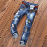Ulasan Pria Jins Lubang Lurus Ripped Jeans Bordir Patch Celana Pria Denim Celana Celana Intl
