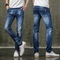 Cara Beli Pria Jins Lubang Lurus Slim Fit Jeans Casual Denim Celana Pria Celana Celana Intl