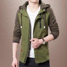 Mens Kasual Jaket Hoodies Jaket Pria Perca Slim Fashion Jaket Dan Mantel Ukuran M 4Xl Hijau Tentara Hijau Tentara Intl Di Tiongkok