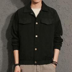 Men's Japan Style Turn-down Collar Atletik Biasa Mantel Standare Outdoor Jaket dengan Huruf Hitam-Intl