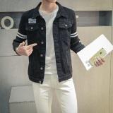 Jual Jaket Jeans Pria Inggris Gaya Jaket Denim Yang Teratur With Padat Hitam Murah Tiongkok
