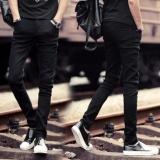 Spesifikasi Pria Korea Fashion Peregangan Skinny Slim Fit Jeans Pemuda Kasual Jeans Hitam Intl Lengkap