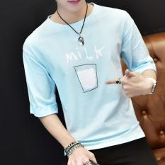 Spesifikasi Men S Korean Short Sleeve O Neck Casual T Shirts Blue Intl Small Wow Terbaru
