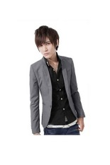 Spek Mens Korea Slim Fit Lapel Kasual Mantel Satu Tombol Blazer Grey