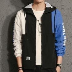 Pria A Korea Plus Ukuran Hooded Atletik Biasa Mantel Tipis Outdoor Jaket dengan Letter Blue-Intl