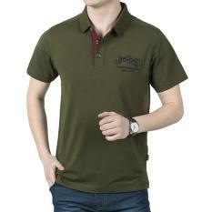 Pria Lapel Katun Lengan Pendek T-Shirt (Hijau Tentara)-Intl