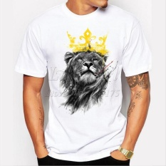 Men's Lastest, 2017 Fashion ,Short Sleeve ,King of Lion Printed T-shirt, Funny Tee Shirts, Hipster O-neck, Cool Tops