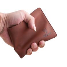 Spek Haid Kulit Bifold Dompet Kredit Kartu Id Pemegang Langsing Tas Koin Coklat Tiongkok