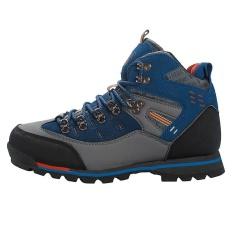 Pria Kulit Sepatu Hiking Tahan Air Outdoor Sepatu (Biru Gray)   Nbsp - 0d320c2c5e