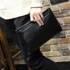Diskon Pria Lichee Pola Handbag Dompet Besar Kemampuan Kulit Lembut Menyelimuti Bag Double Zipper Kenyamanan Kopling Bisnis Tas Telepon Hitam Intl Oem