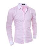 Review Terbaik Lengan Panjang Pria Kontras Trim Shirt Pink