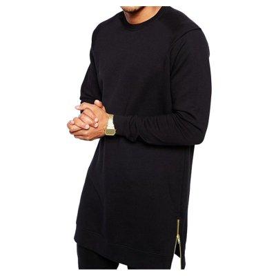 Spesifikasi Pria Lengan Panjang Leher Bundar Panjang Pos Lenth Longline Detail Kaos Atasan Hitam Intl Bagus