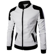 Pria Lengan Panjang Slim Fit Lokomotif Jaket Kulit Pria dengan Ukuran Fashion Mandarin Collar Zipper Leather Coat Outwear Blazer-Putih-Intl