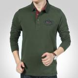 Katalog T Shirt Lengan Panjang Pria Longgar Lapel Katun Polo Shirt Hijau Intl Queen Terbaru